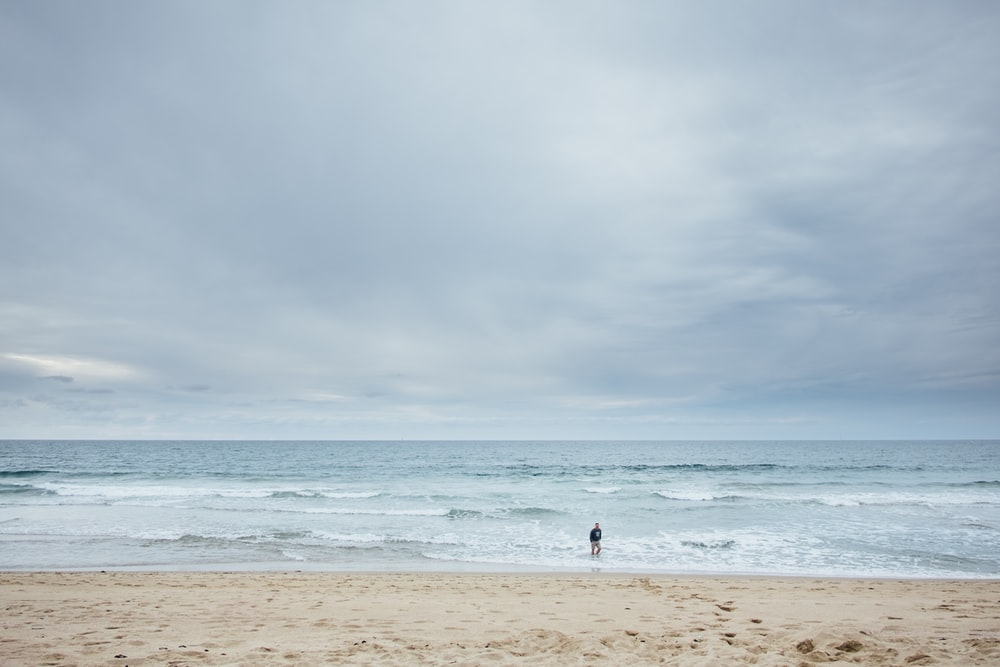 aerial photography unknown person walking on seashore