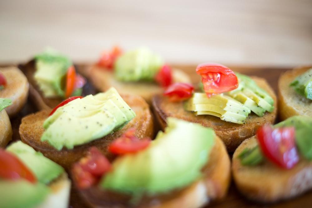 baked pastry, avocado toast