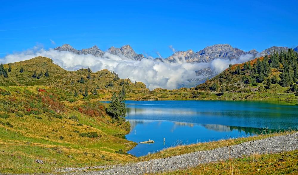 lake beside hill