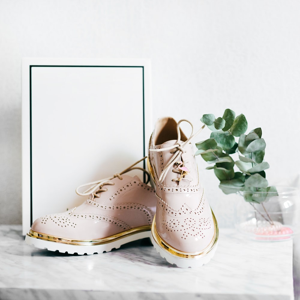 pair of shoes and white box near plant