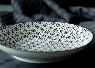 white and black ceramic plate