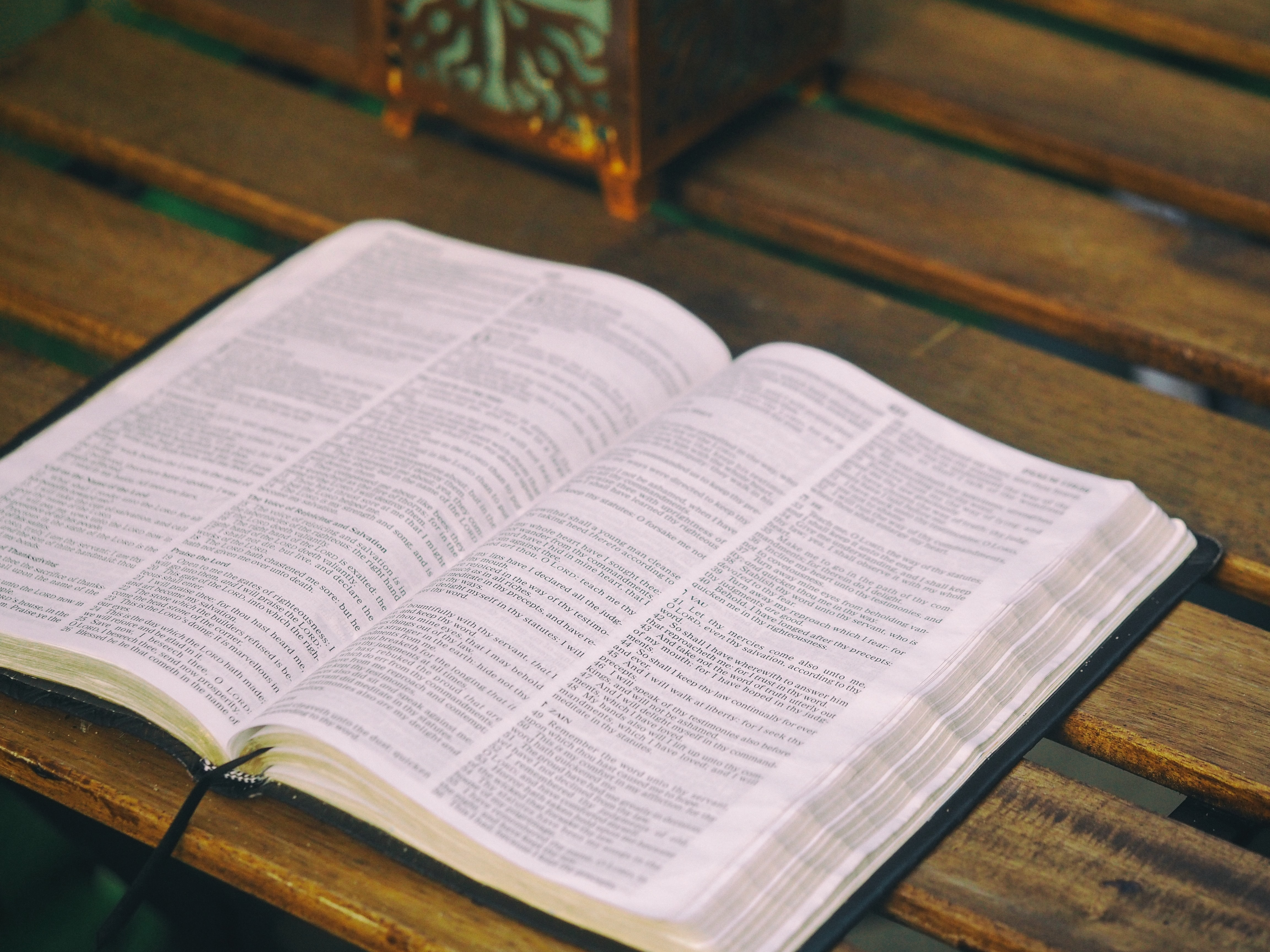 bible opened on table