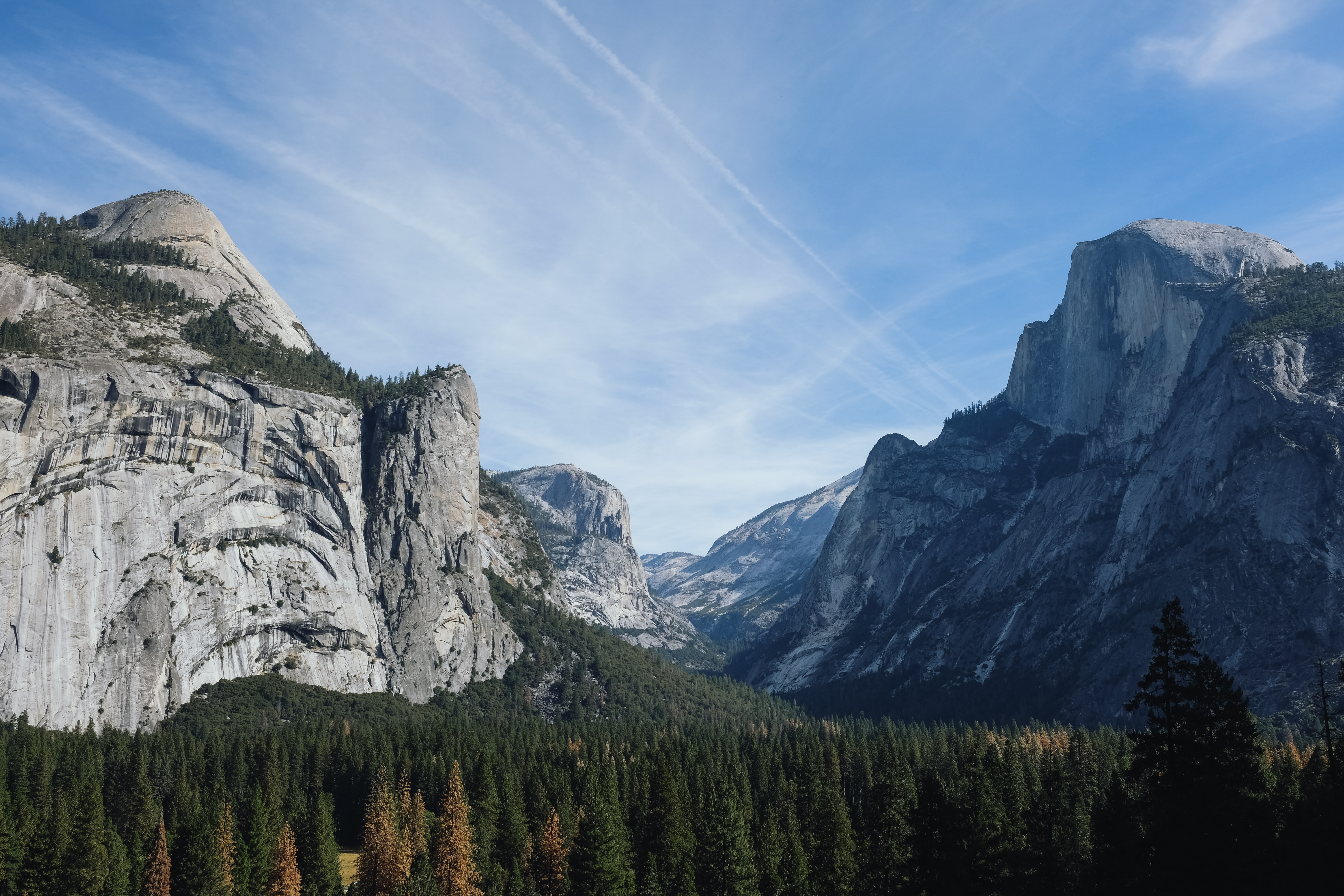 View from the floor of the Yosemite Valley on its impressive granite summits