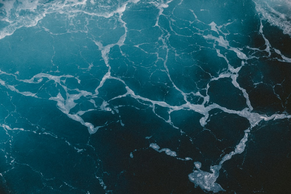 top view photo of rippling body of water
