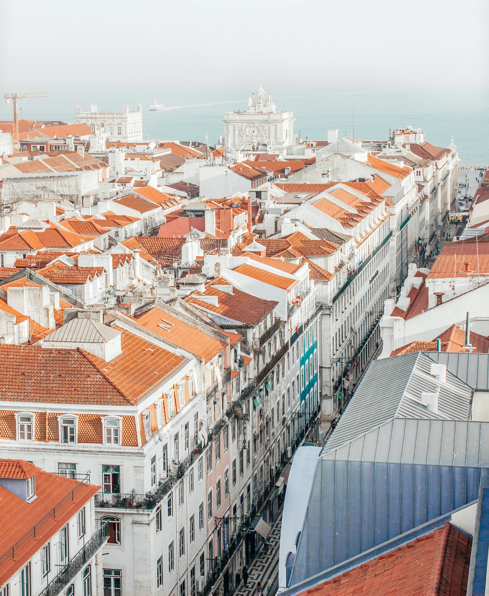 Red-roofed tenement houses near the marina in Lisbon