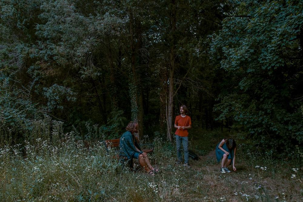 three person near trees