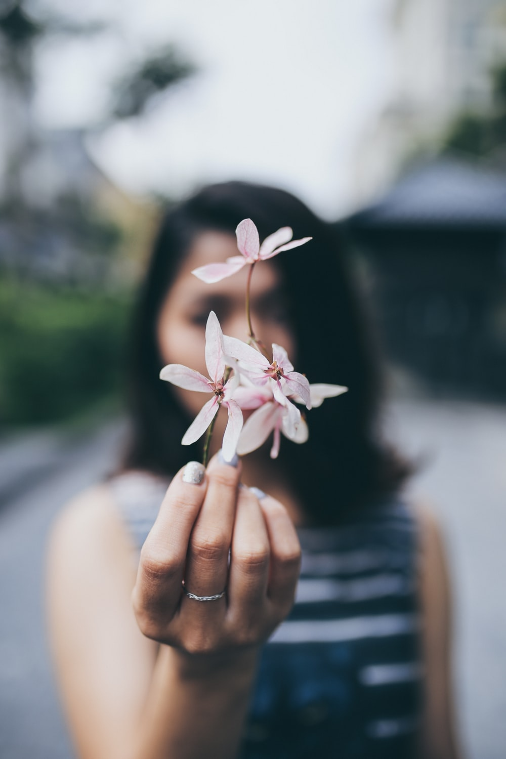 Woman With Delicate White Flowers Photo By Hai Phung Pminhai On