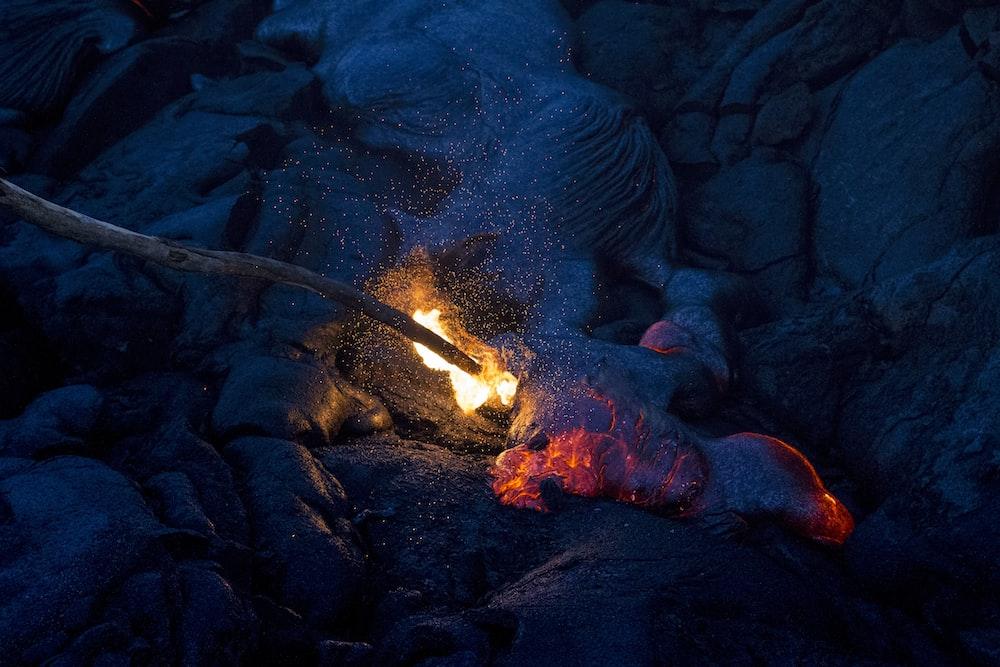 burning stick during nightime