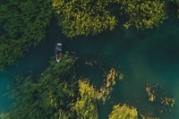 aerial photography of borwn boat on river during daytime