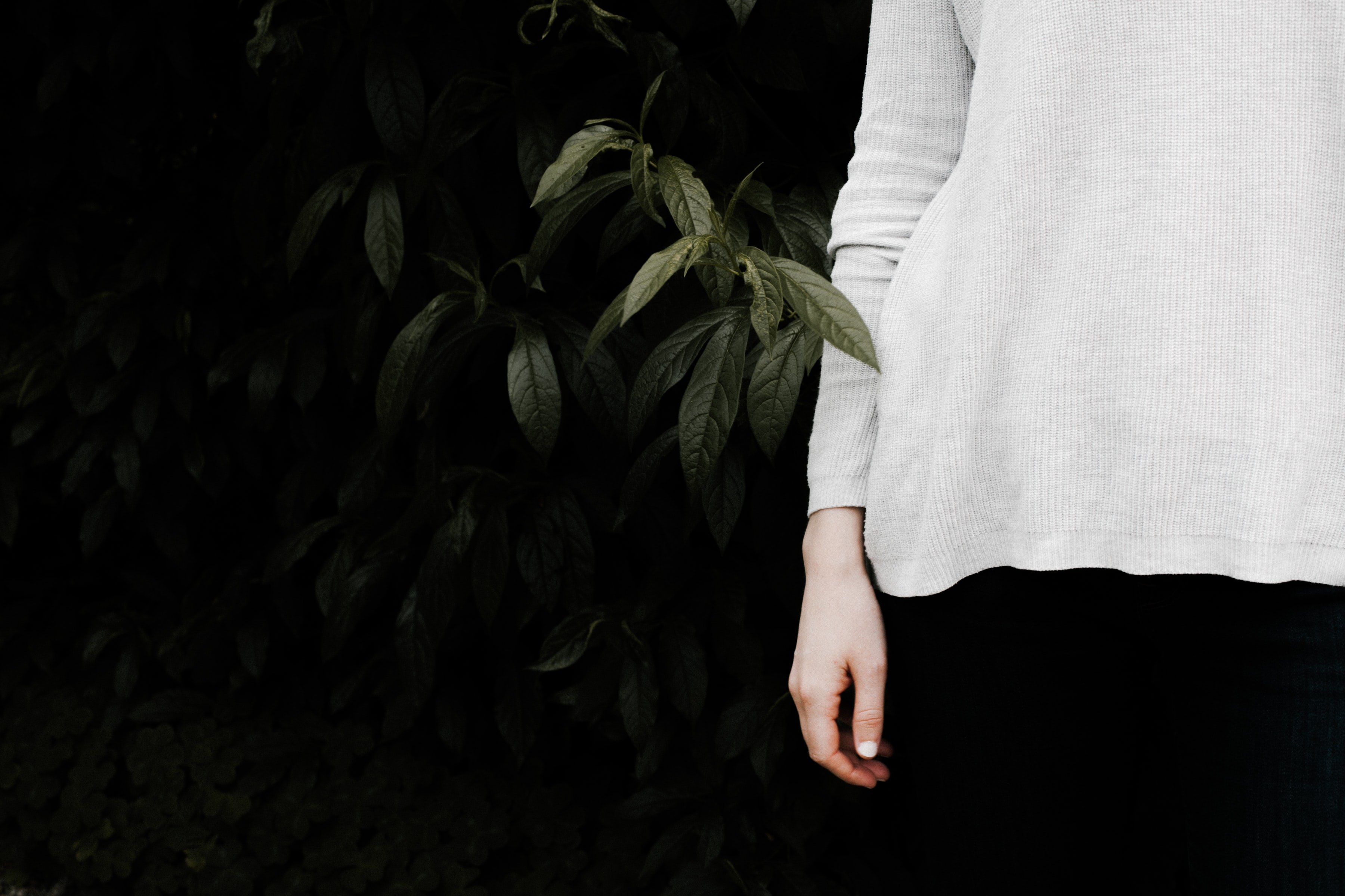 person wearing white long-sleeved shirt standing near green leaf bush