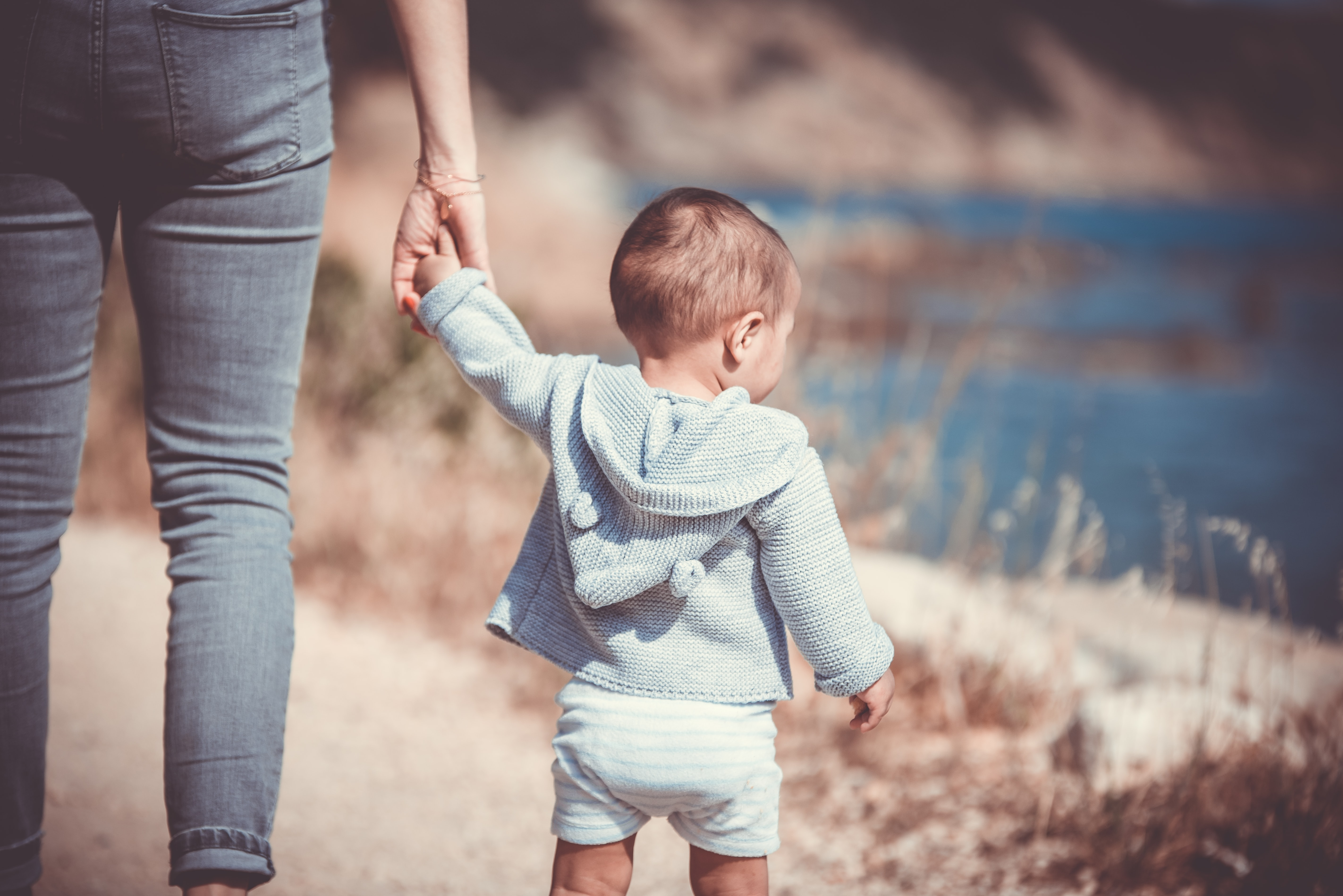 A parent holding her child's hand and walking by the water in a field