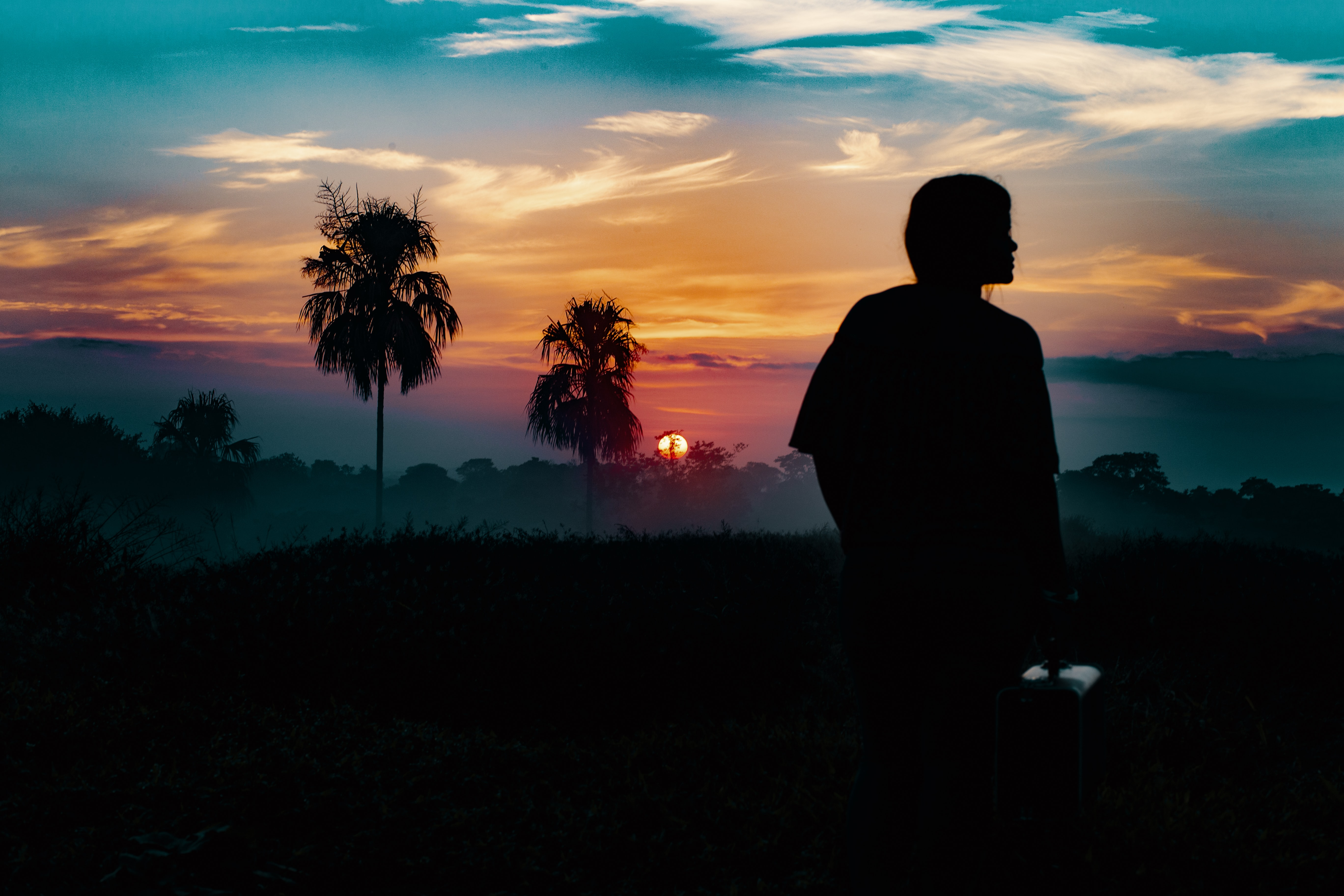 Silhouette person and mid-ground landscape in Columbia including palm trees with a sunset with red, orange and blue sky background
