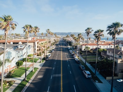 aerial photography of street california zoom background
