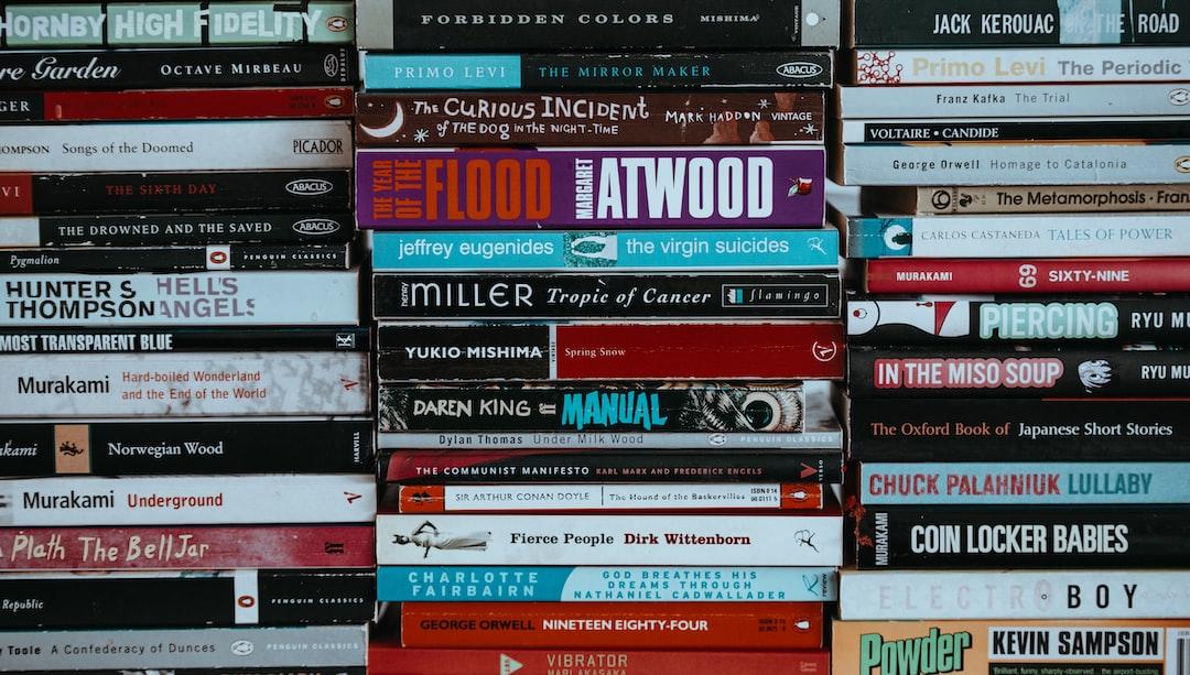 Landscape shot of piles of books