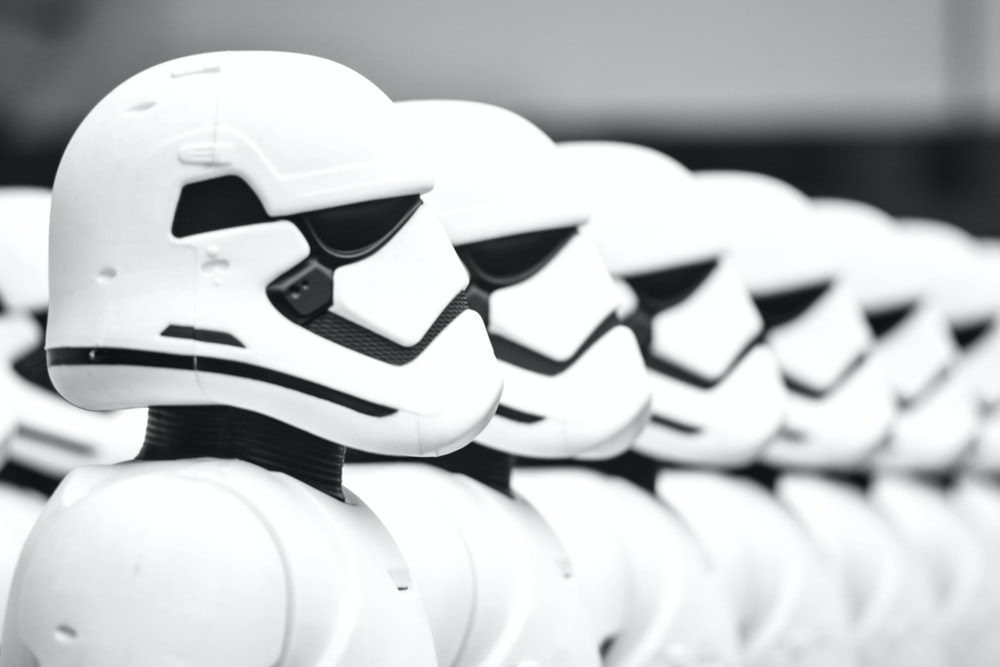 line of Star Wars Stormtroopers