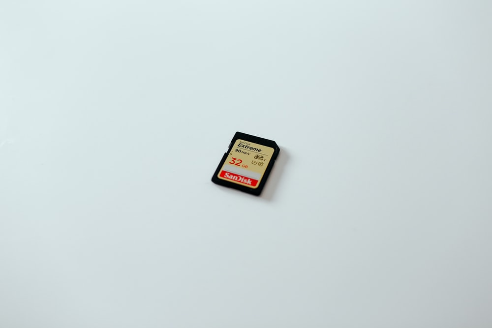 black and brown SD card