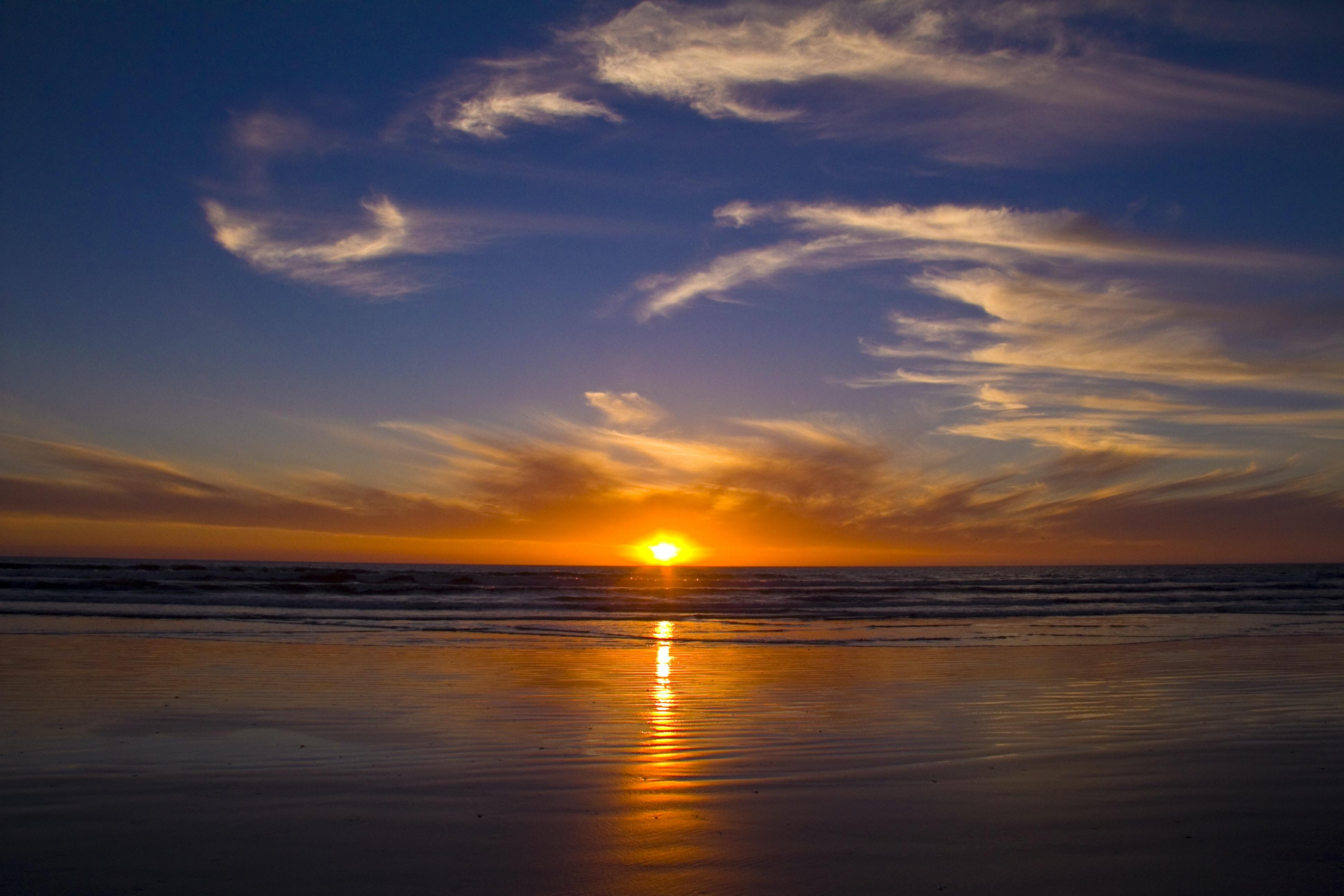 landscape photography of seashore during sunset