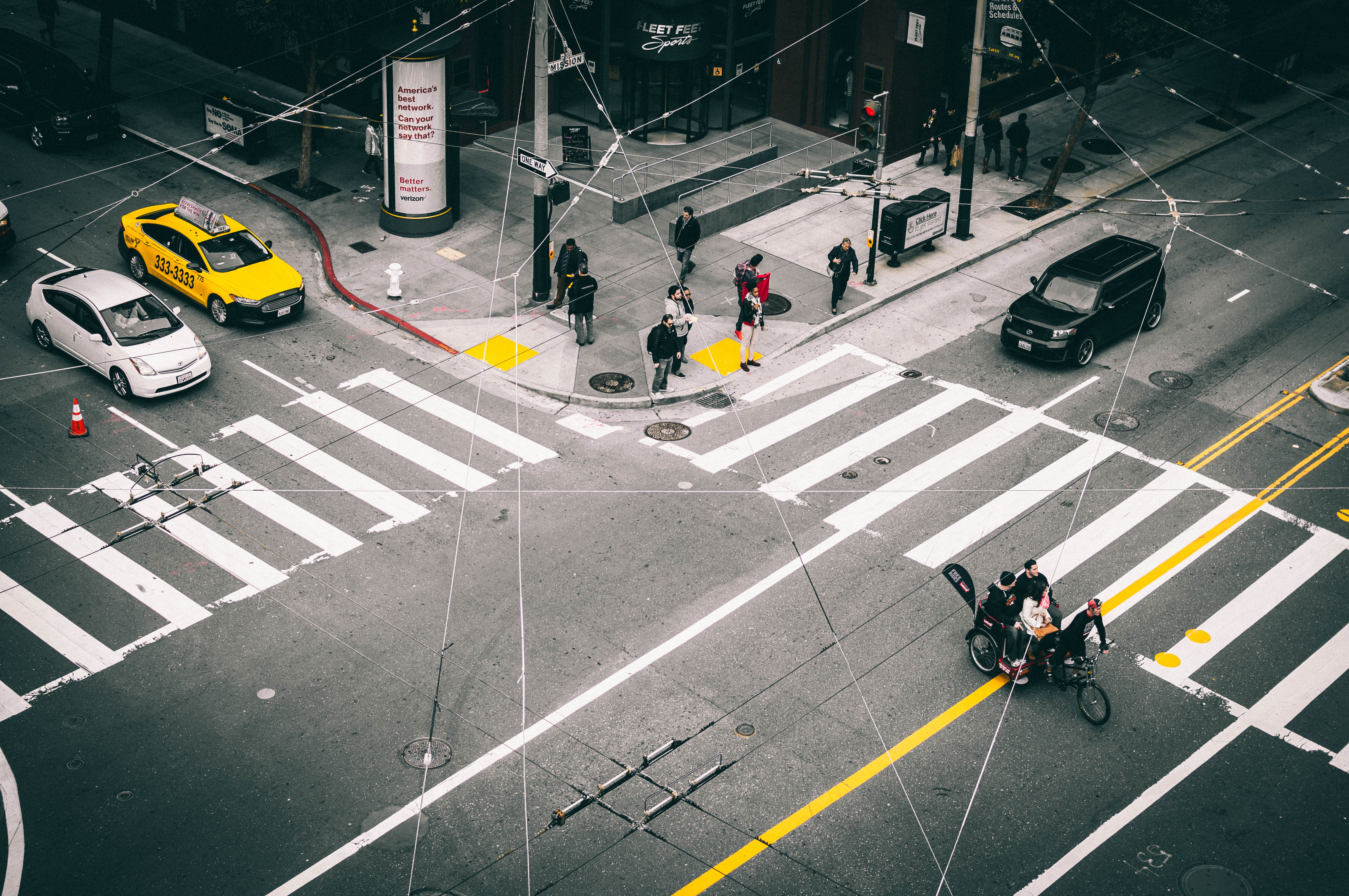 An overhead shot of crosswalks at a San Francisco intersection