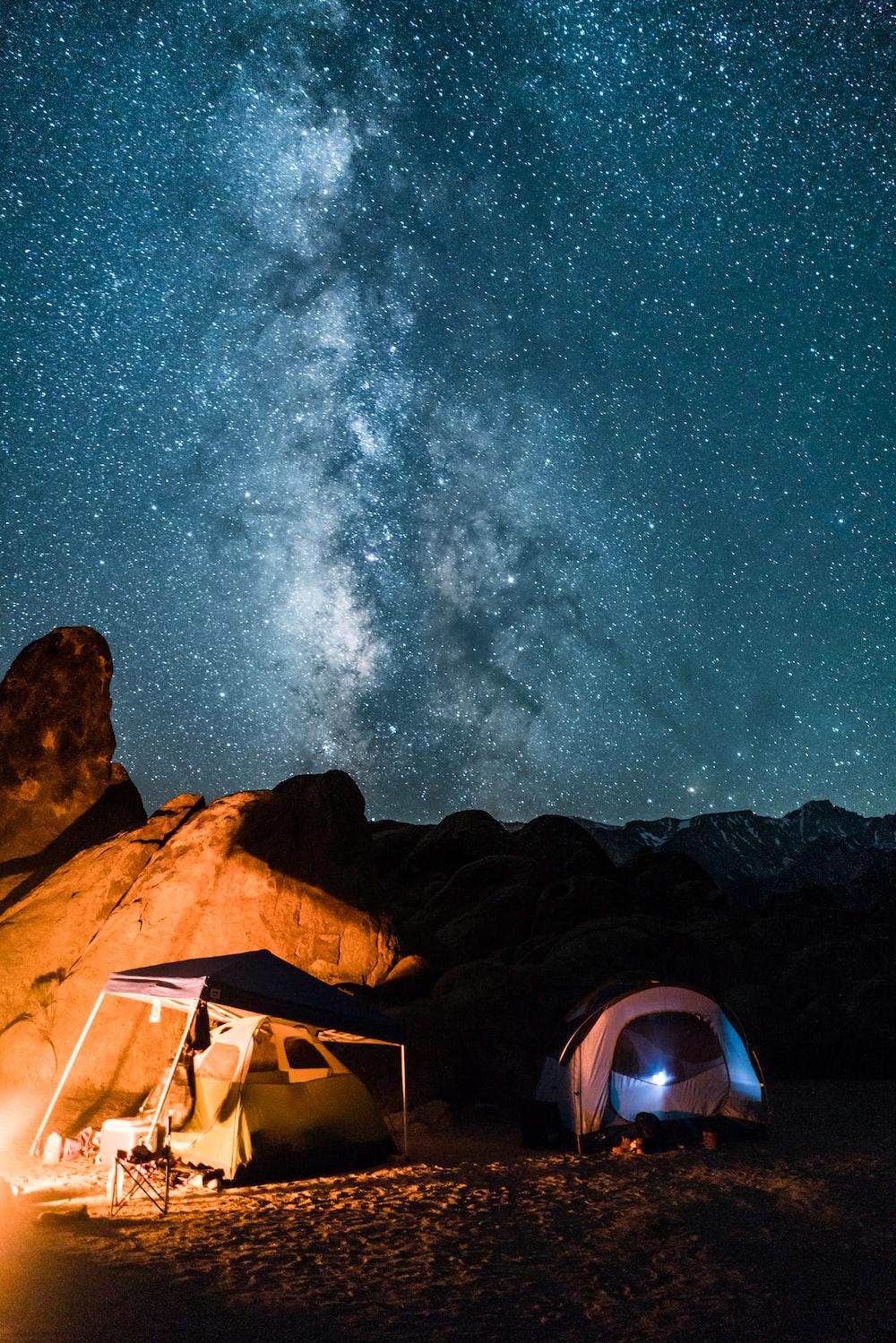 campers under milky way