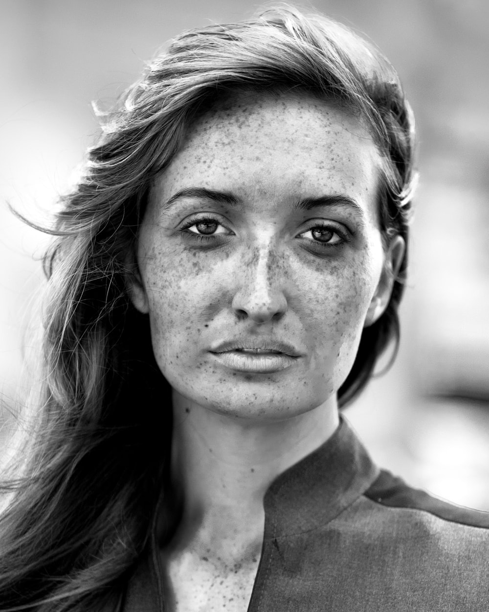 grayscale portrait photo of woman