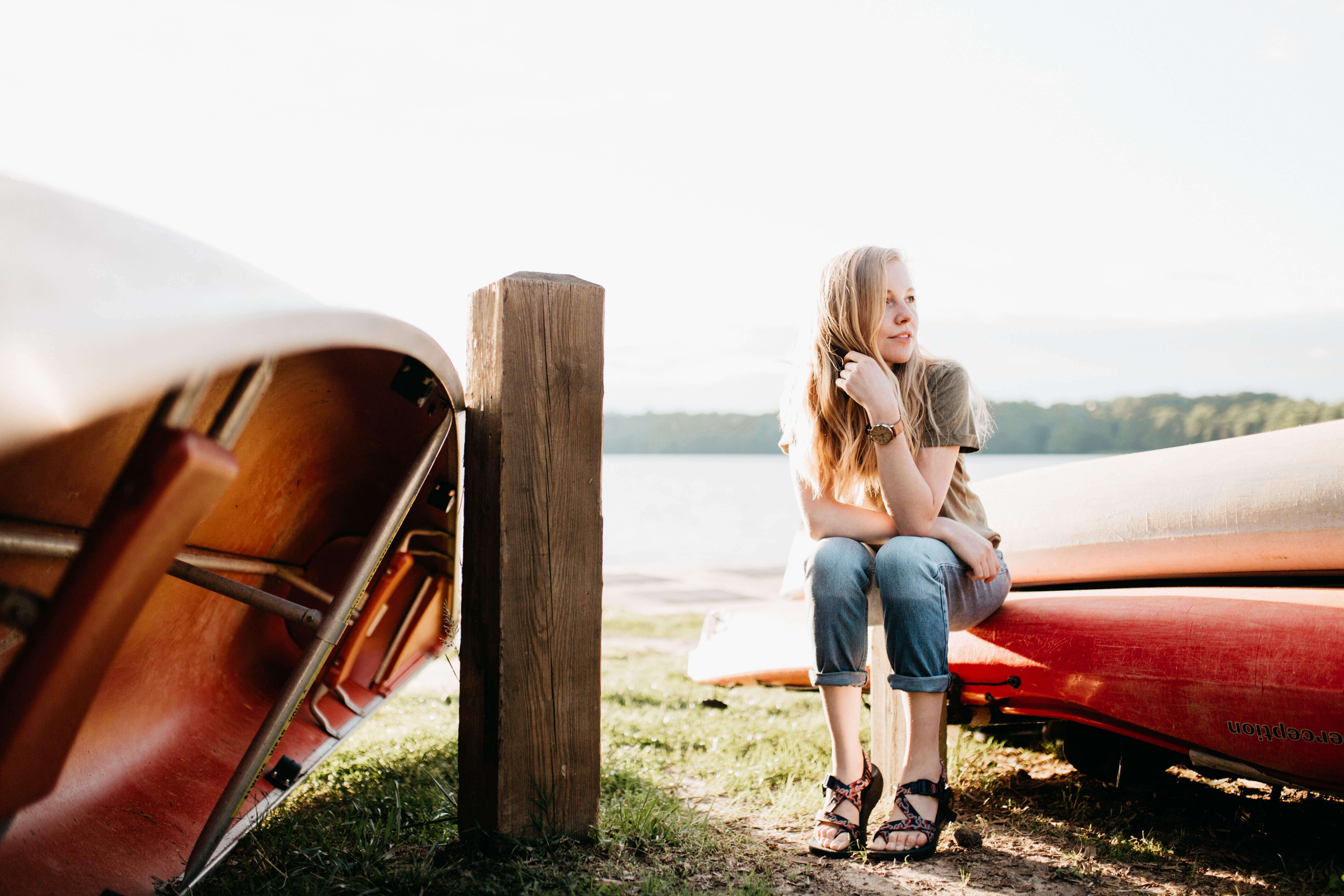 woman seating on boat