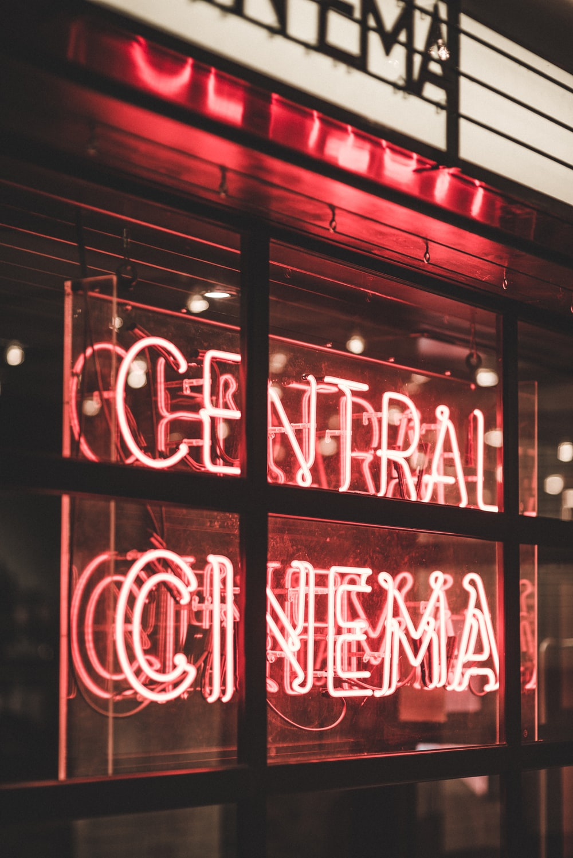 red Central Cinema LED light sign