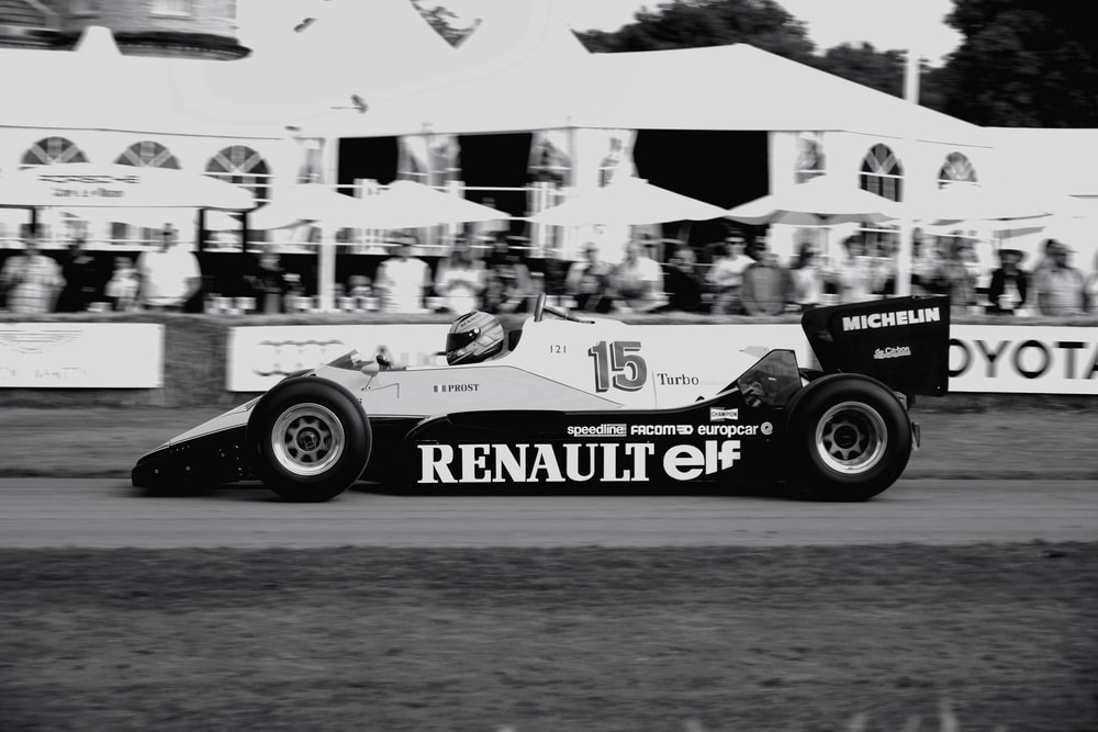grayscale photo of Renault racing car