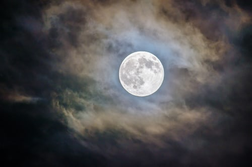 Full moon coming out of the clouds