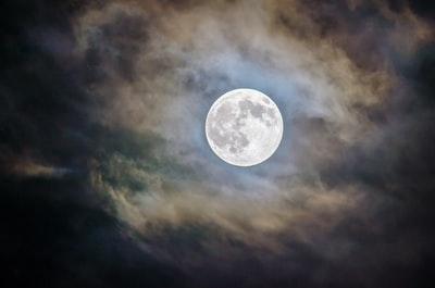 full moon and gray clouds during nighttime moon teams background