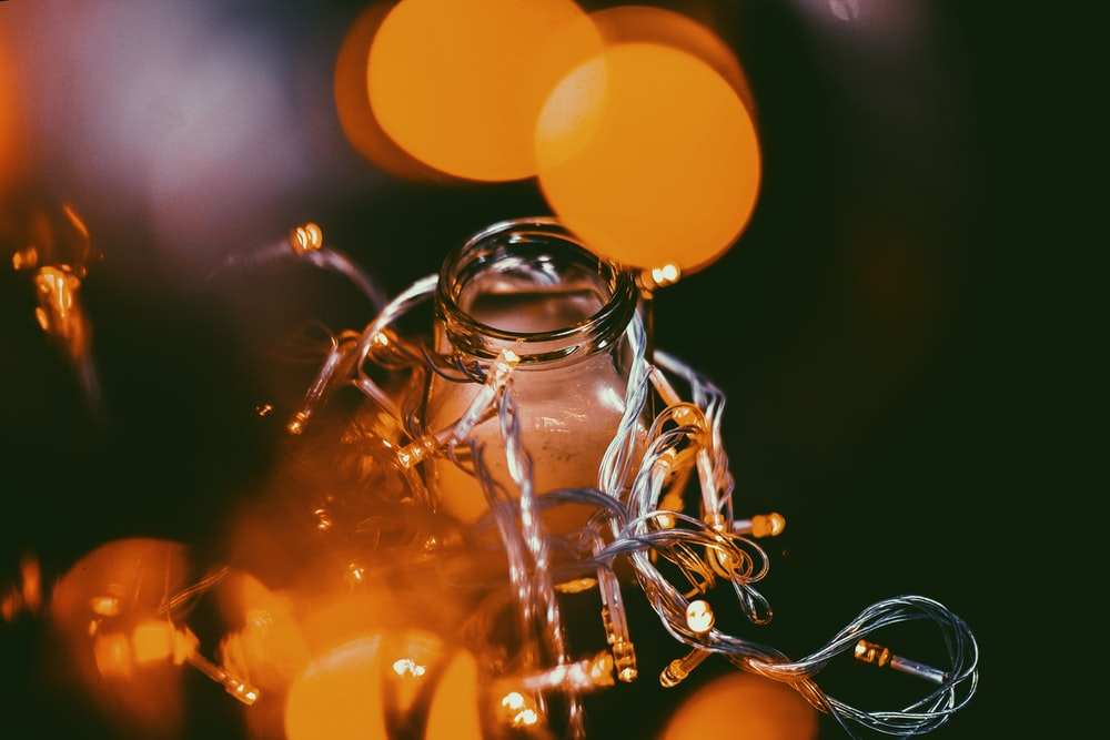 close-up photo of string lights