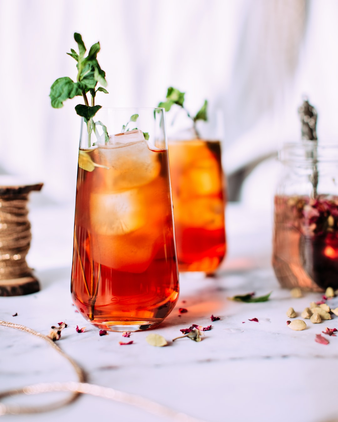 Iced tea with rose syrup