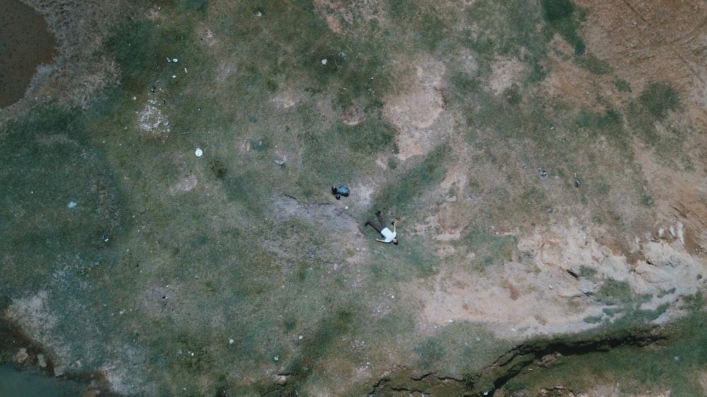 bird's eye-view photo of man lying on the floor