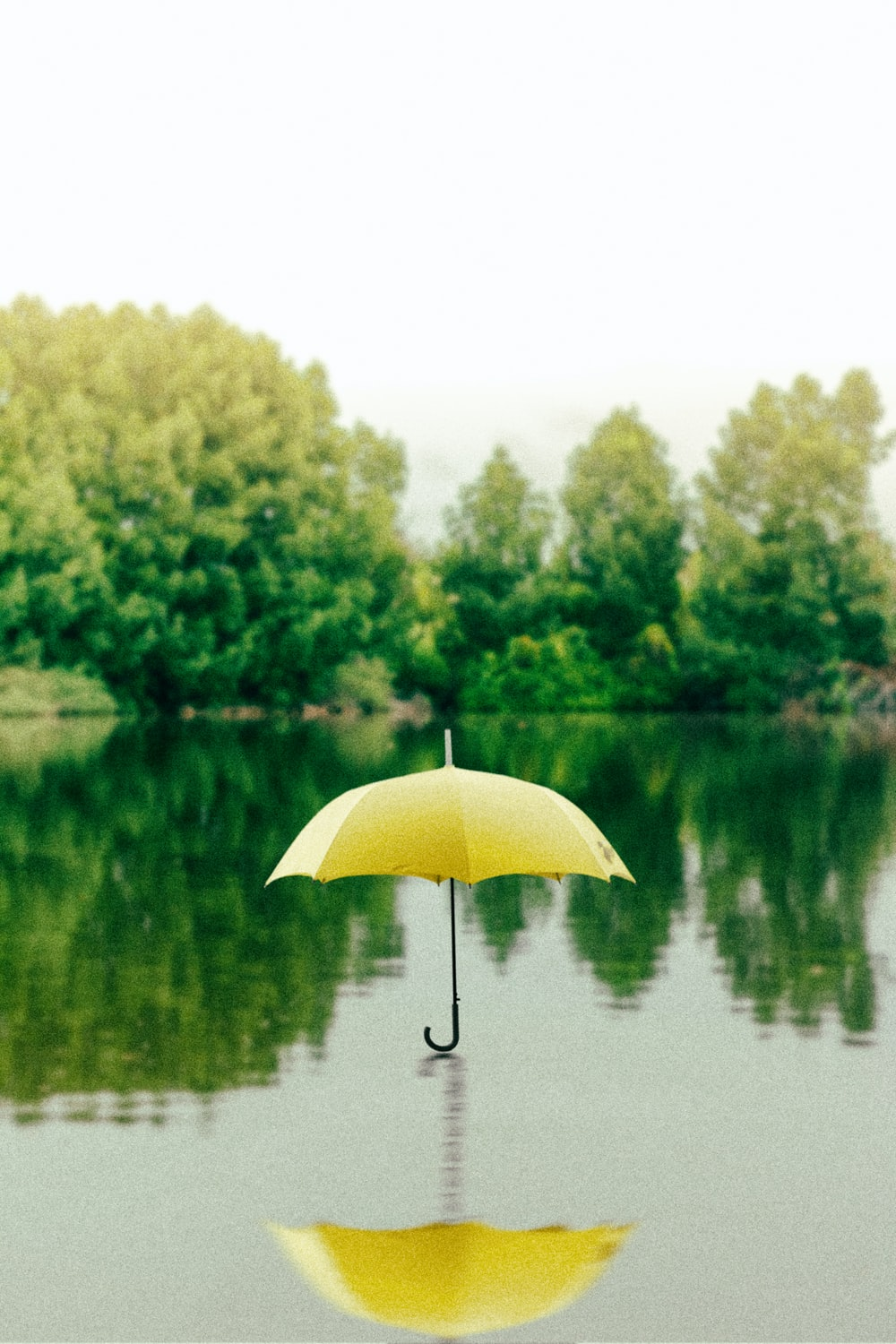 yellow umbrella on surface of water at daytime