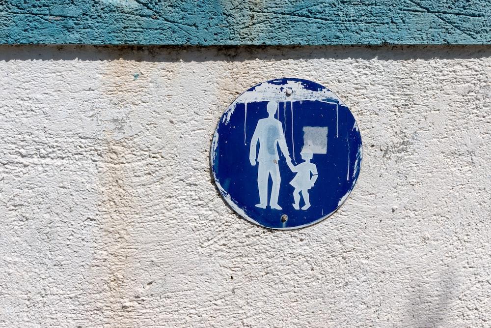 white and blue signage