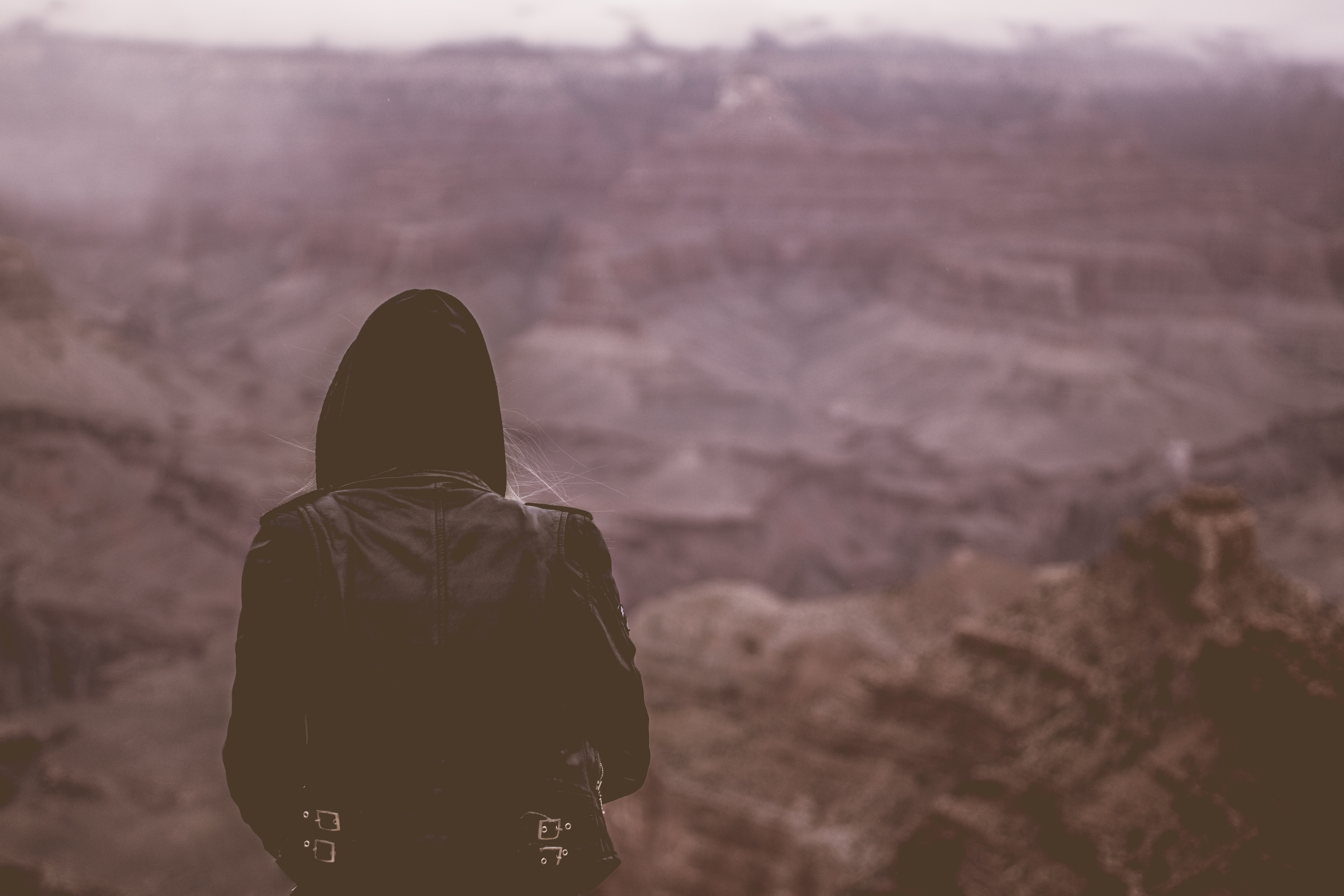 A girl in a hooded leather jacket staring into a canyon