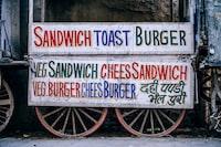 sandwich toast burger sign on cart