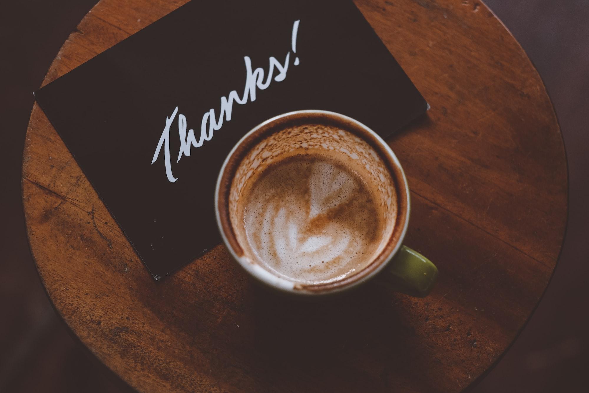 thanks postcard and latte