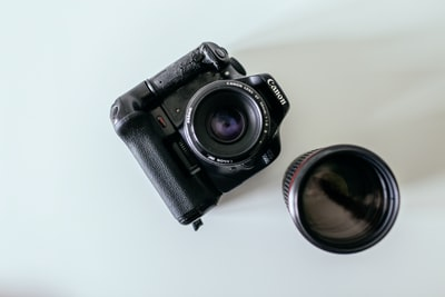 black canon dslr camera beside lens len teams background