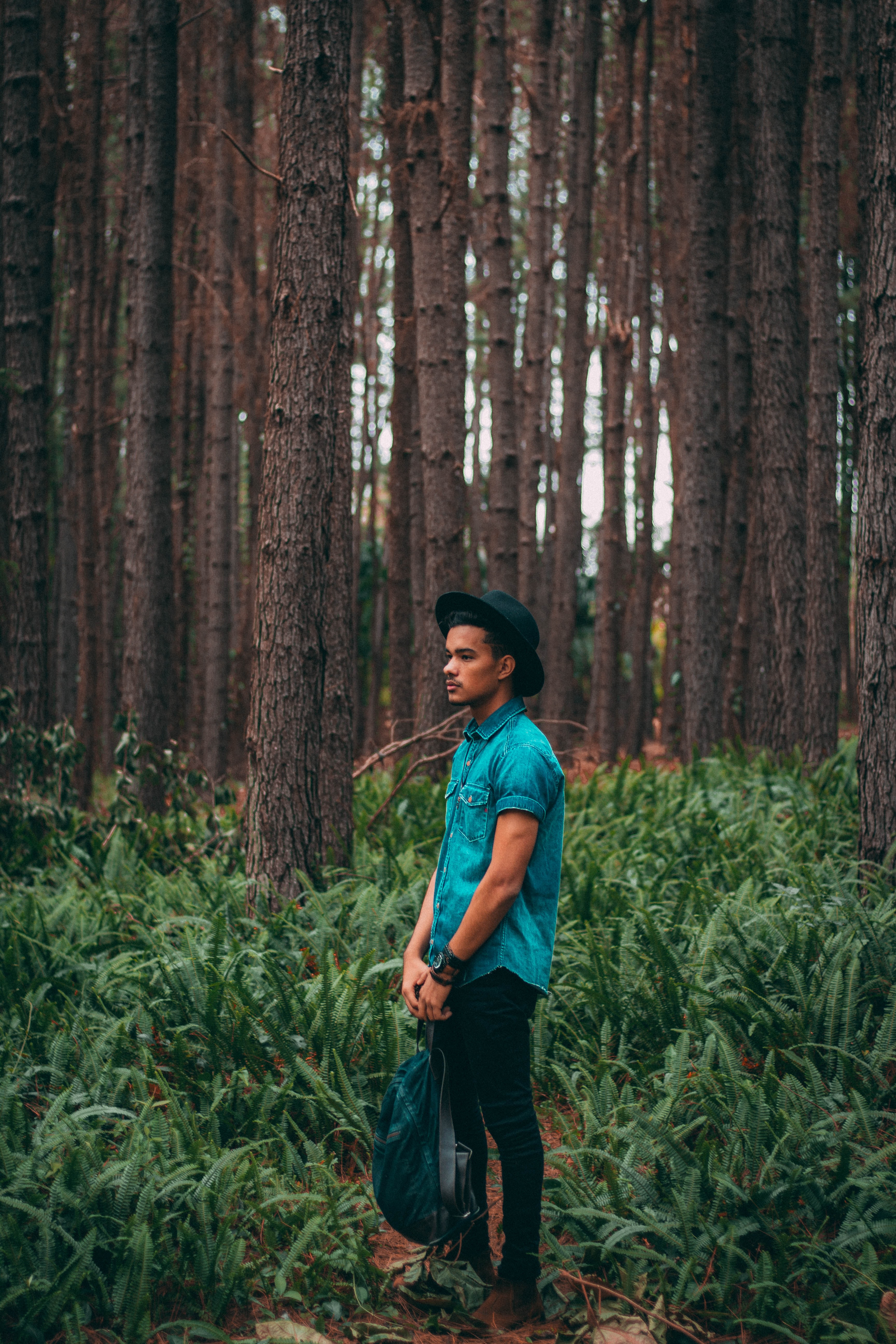 man standing in the middle of forest during daytime