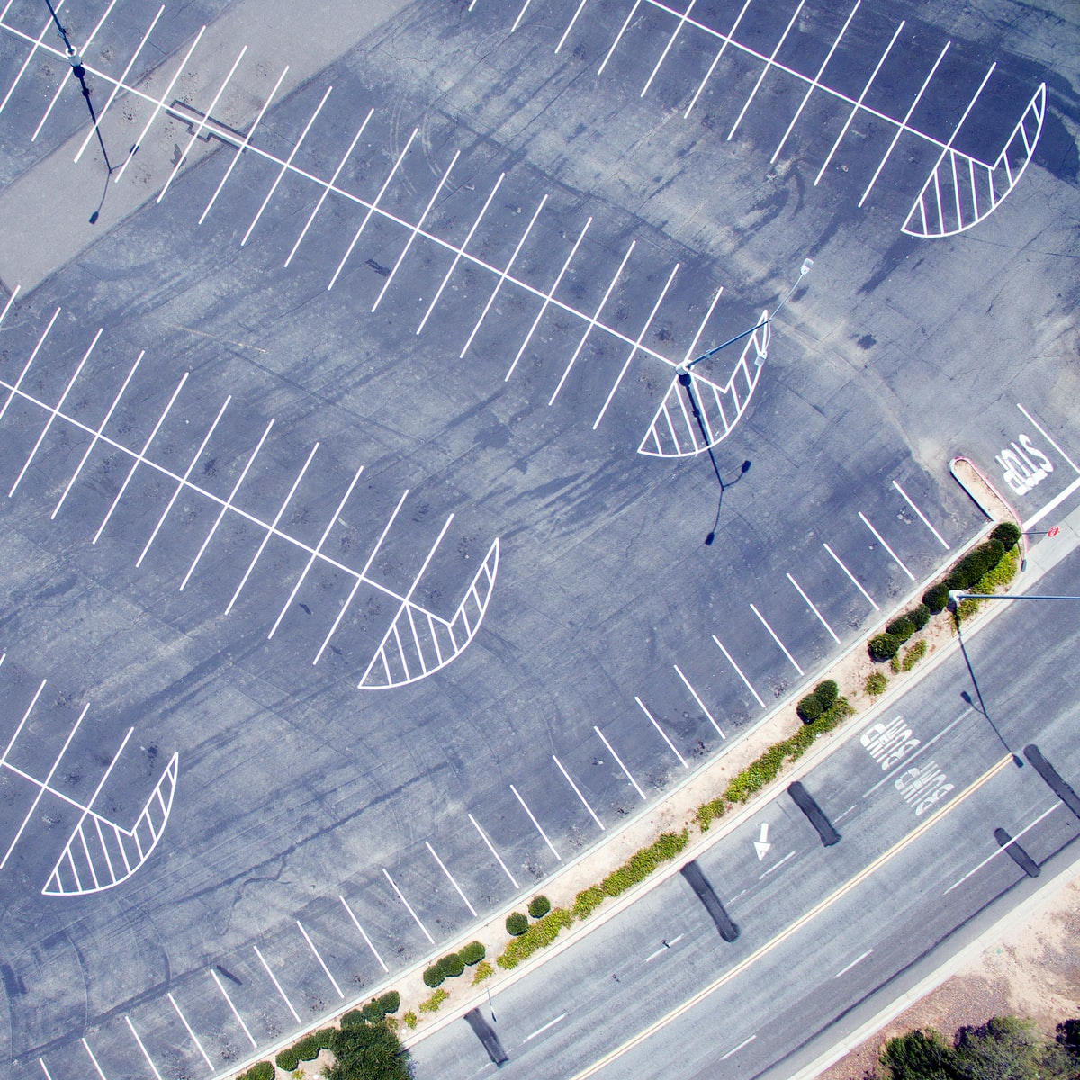 Drone over parking lot.