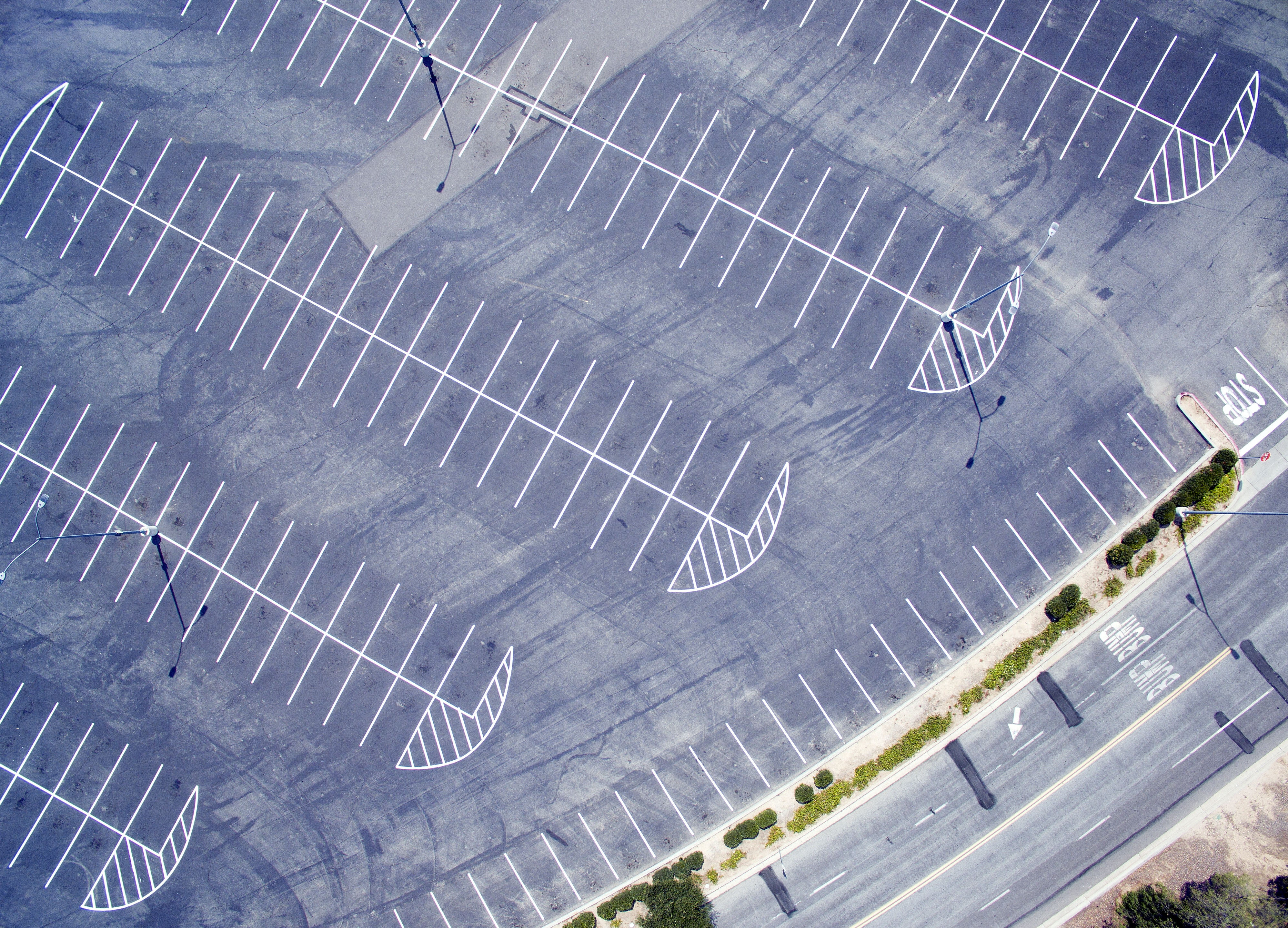 A drone shot of an empty parking lot in Moorpark, California