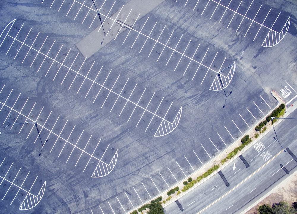 bird's eye view photo of gray road