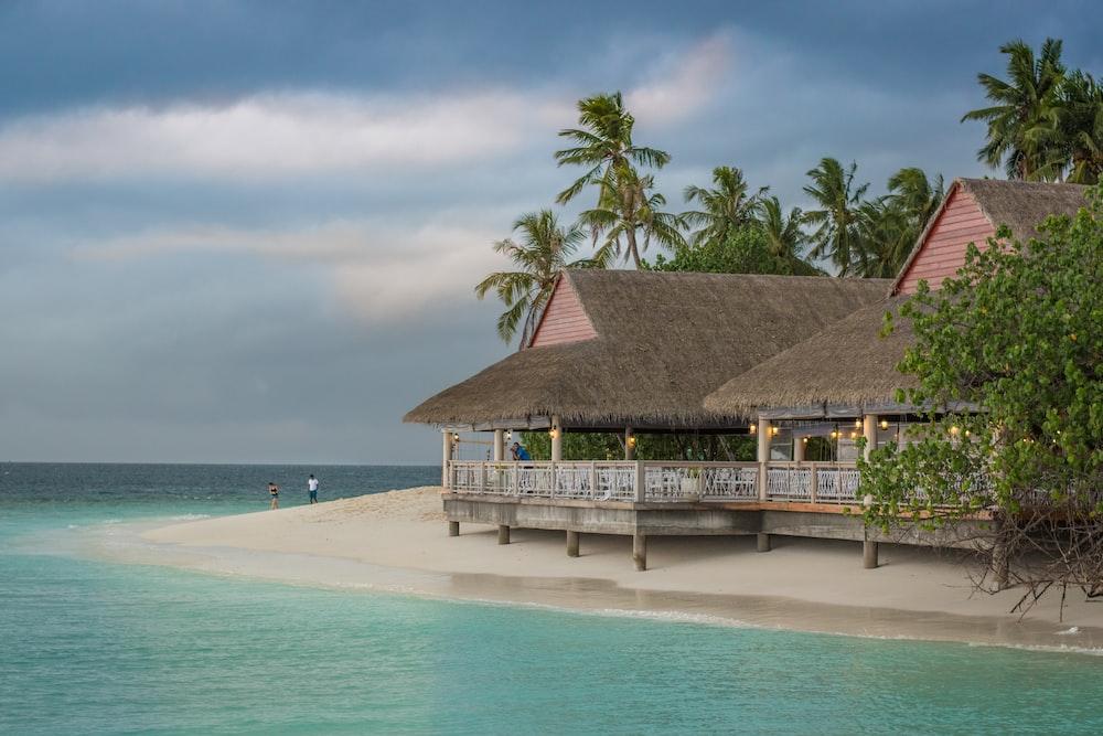 brown hut near body of water