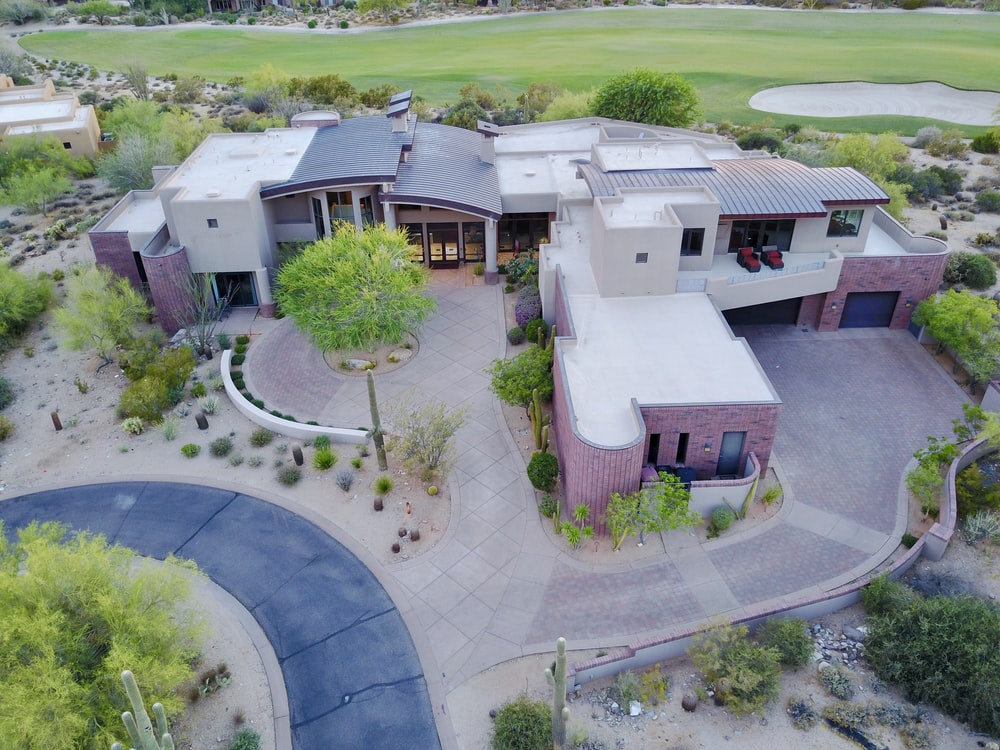 aerial photography of concrete mansion