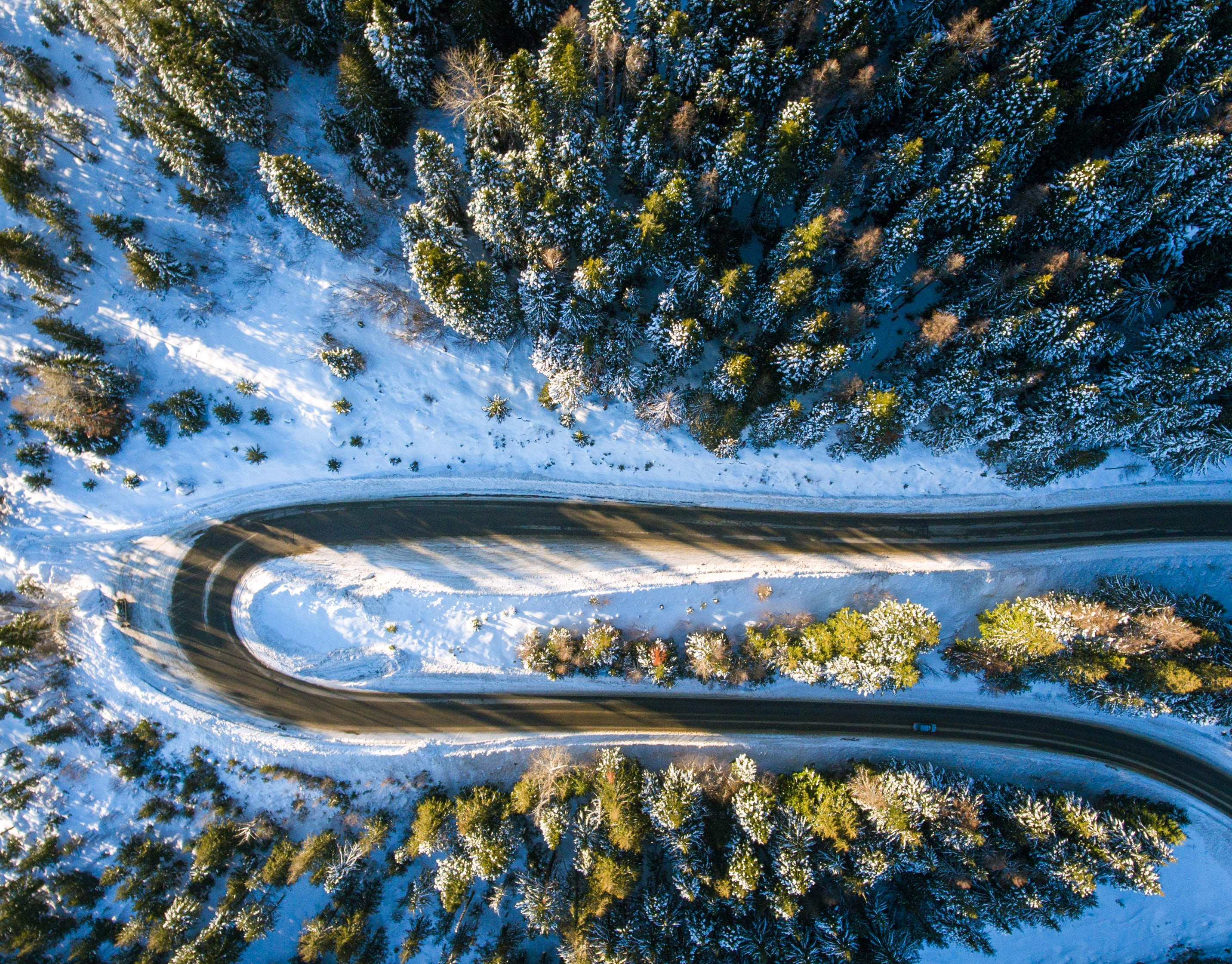 Aerial view of Schweitzer Mountain Road surrounded by icy trees