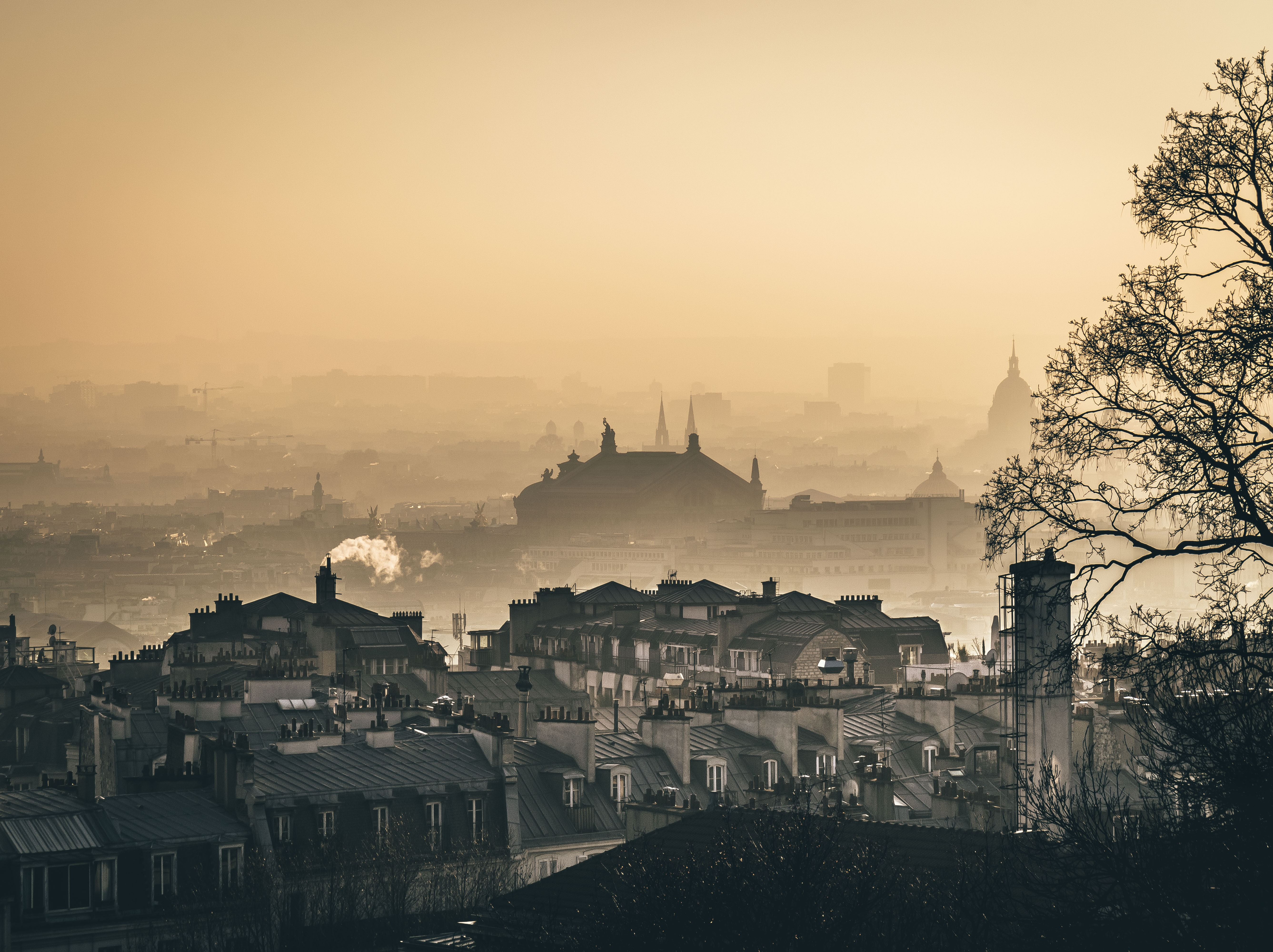 The beautiful architecture of Paris shrouded in mist or fog at sunset