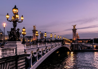 bridge during night time paris teams background