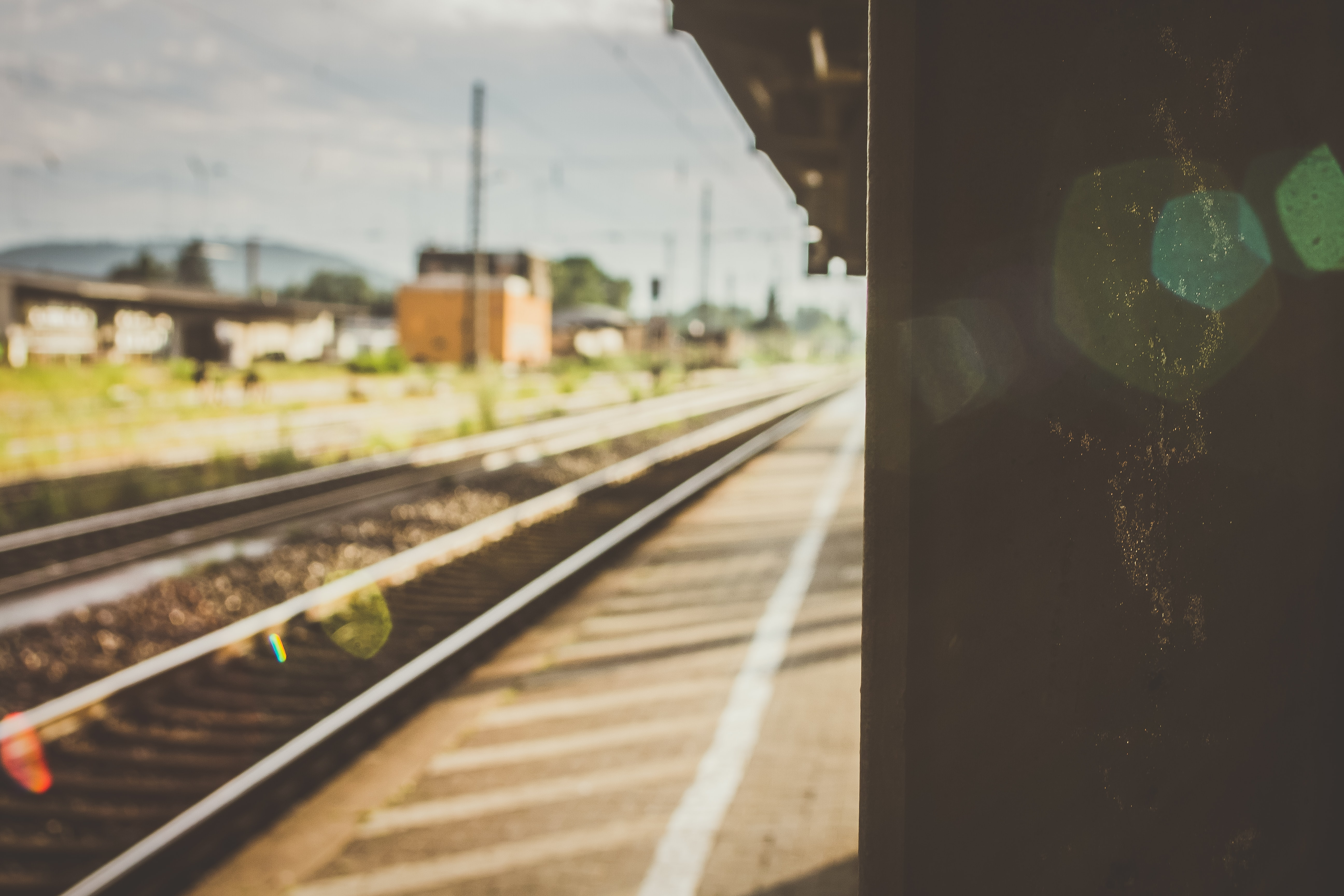 A blurry shot of the train tracks in Gelnhausen with lens flare effect.