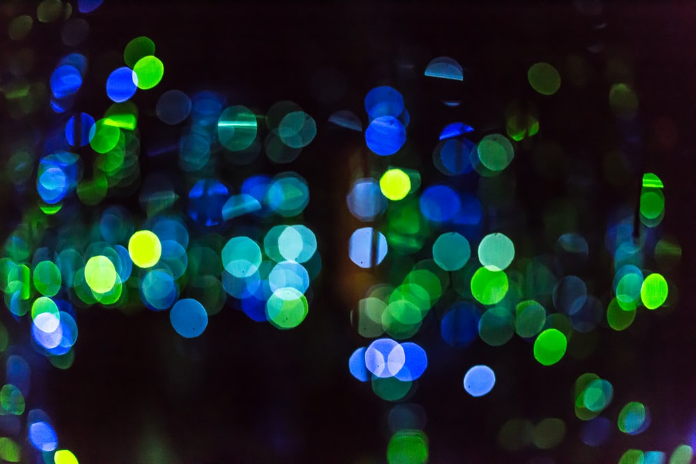 Close up of multi colored speckled glowing dots bokeh artwork at Phoenix Art Museum