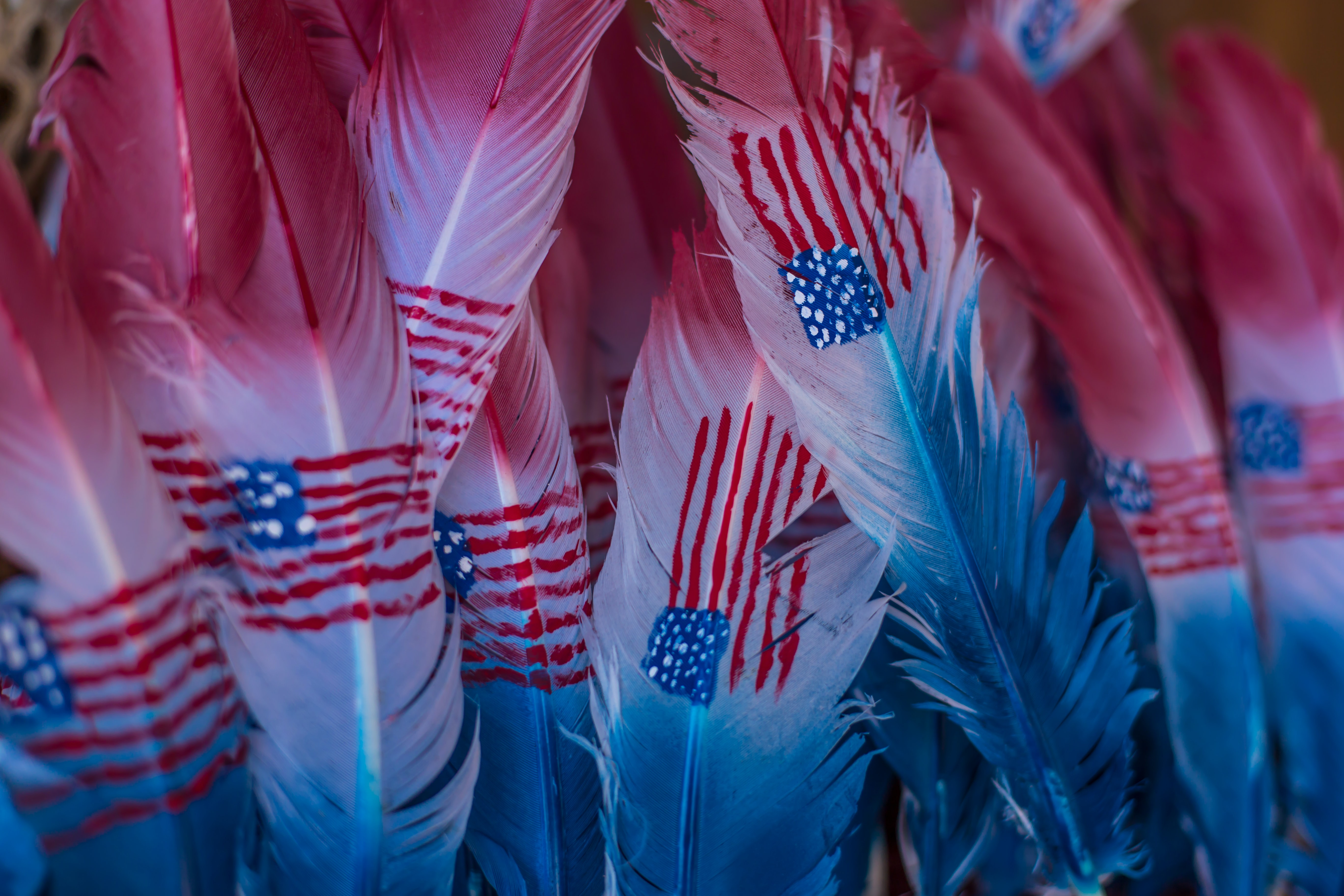 A display of red, white, and blue feathers with American flags painted on them